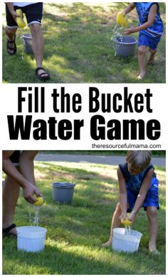 Cool of this summer with this super fun water game. Teams race to fill their bucket. kids activity summer fun family activity group activity