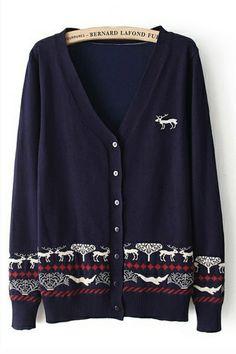 Deer Pattern V Neck Cardigan OASAP.com