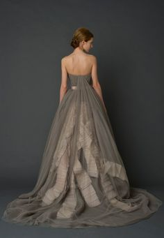 Back of a gray wedding dress