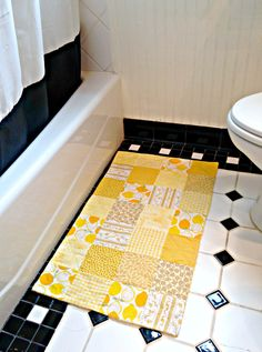 Yellow Bathroom Rug Patchwork Bath Mat Shower Rug Laundry Room Rug Nursery