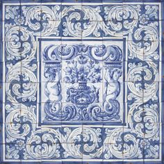 Portuguese-Traditional-Clay-Tiles-Azulejos-Mural-Panel-FLOWER-VASES-ALBARRADA