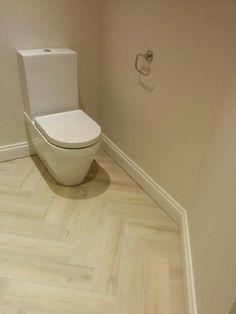 Parquet bathroom floor - fired earth St Ives frost ceramic tiles Loft Bathroom, Bathroom Flooring, Kitchen Flooring, Bathrooms, Ceramic Floor Tiles, Porcelain Tile, Tile Floor, Grant House, Wood Effect Tiles