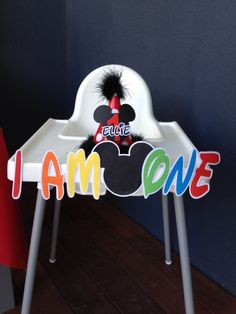 Mickey Mouse Birthday Party decorated high chair!  See more party ideas at CatchMyParty.com!