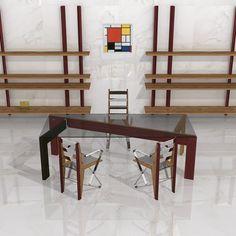 """Junio 2016. Espacio de ejecutivo FATE - Estilo CRISOL. Diseño y decoración de Ernesto Oñate para EO DESIGN. Inspirado en la obra de Piet Mondrian: """"Composición en rojo, amarillo, azul y negro"""", de 1921."""