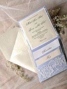 Custom Listing 20 Lilac Wedding Invitation by forlovepolkadots