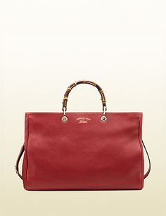 GUCCI Large Bamboo Shopper Leather Tote