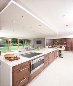 Stoneham Strata black walnut kitchen by Licia di Pasquale at Kitchens Internatio. Patio Kitchen, Kitchen Chairs, Kitchen Furniture, New Kitchen, Kitchen Flooring, Kitchen Island, Luxury Kitchen Design, Luxury Kitchens, Cool Kitchens
