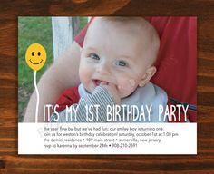 Printable Custom Smiley First Birthday Invitation - Digital File ONLY. $15.00, via Etsy.