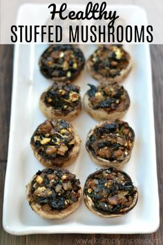 Make these healthy stuffed mushrooms for your next party or get together. They are packed with spinach and feta with a little balsamic for scrumptious flavors! #stuffedmushrooms #healthy #appetizer #easy #spinach #feta