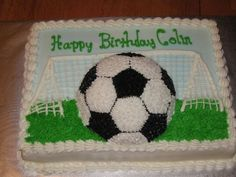 1/2 Soccer Ball Cake Soccer Birthday Cakes, Sons Birthday, Birthday Ideas, Soccer Ball Cake, Soccer Cakes, Soccer Party, Sheet Cakes Decorated, Cake Show, Sport Cakes