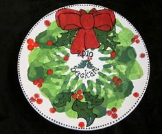 pottery painting ideas for christmas with handprints | handprint christmas pottery
