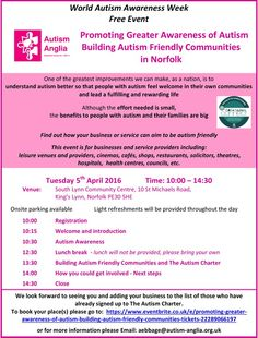 #Autism #Anglia, World Autism Awareness Week event Tuesday 5th April 2016  Autism Anglia event: South Lynn Community Centre, 10 St Michaels Road, #KingsLynn. To raise more awareness of Autism, the #AutismCharter and building autism friendly communities in #Norfolk