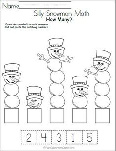 Silly Snowman Math Numbers Worksheet - Madebyteachers Free winter math worksheet for number recognition practice. Count the snowballs in each snowman, then cut and paste the number that matches. Find more winter math worksheets for Kindergarten an Free Math Worksheets, Kindergarten Math Worksheets, Math Activities, Math Math, Printable Worksheets, Math Games, Cut And Paste Worksheets, Matching Worksheets, Cutting Activities