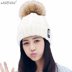 MIOIM Faux Fox Fur Hat Women Big Raccoon Pom Pom Hat Womens Knitted Beanie Caps Female Autumn Winter Warm Hats Girls Skullies 3  #Affiliate