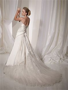 Sweetheart Neckline Lace Applique Over Net With Taffeta A-line Wedding Dress WD1451  http://www.tidebridaldresses.com