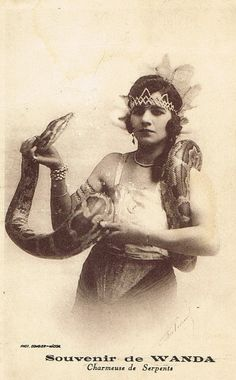 Gorgeous Snake Charmer Rare 1920s Art Deco French Circus Wanda Flapper Burlesque Wild Lady with Headdress