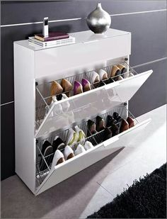 15 Smart Storage Rack Design Ideas For Your Small Home Do you have a small house that doesn't have storage space for your object? Because the storage space in our small house must be less … Shoe Storage Modern, Shoe Storage Design, Shoe Storage Solutions, Closet Shoe Storage, Diy Shoe Rack, Shoe Storage Cabinet, Rack Design, Smart Storage, Bedroom Storage