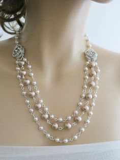 Bridal Necklace Champagne Pearl Necklace Chunky Pearl Wedding
