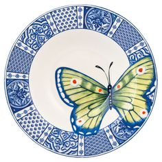 Courtyard Soup Bowl: Stoneware soup bowl with a butterfly detail and patterned border. Stoneware