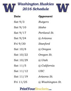 Printable Washington Huskies Football Schedule 2016