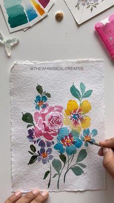 Realistic Flower Drawing, Simple Flower Drawing, Easy Flower Drawings, Beautiful Flower Drawings, Flower Art, Floral Drawing, Drawing Drawing, Watercolor Flowers Tutorial, Watercolour Tutorials