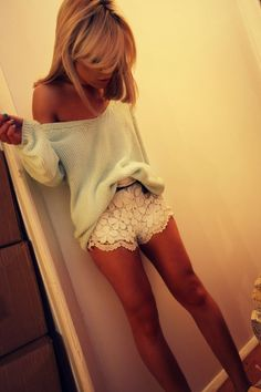 Get this look on @Emilio Foster or see more #shorts #lace #clothes #highwasted #girl #sweater