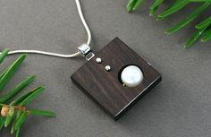 Sterling silver necklace Square necklace brown Square