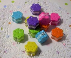 Mini Flower Cookie Charm - Cute Sweet Rainbow Polymer Clay Charms