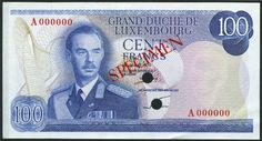 (†) Grand-Duche de Luxembourg, colour trial 10 francs, 1967, brown, 20 francs, ND (1966), violet, 50 francs, 1972, green and 100 francs, 1970, blue, all Grand Duke Jean at right