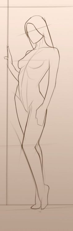 Drawing anatomy reference sketch // outline sketch of a woman standing