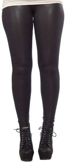 SHEENA LEGGINGS BLK This pair of reptile like patterned leggings have just the right amount of sheen to pair with your favorite top! These leather like leggings pull on for a comfortable fit and catch the light as your strut your stuff. $25.00 #leggings