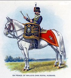 British; 10th Prince of Wales's Own Royal Hussars, Kettledrummer, c.1912 from Bands of the British Army by W.J. Gordon and illustrated by F. Stansell