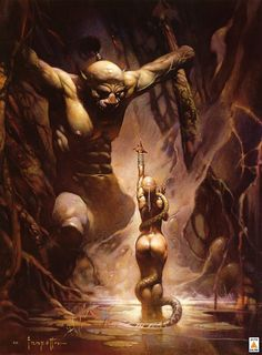 This piece is by Frank Frazetta, legend of fantasy art. He started out as a comic book illustrator but moved in to oil work that was just as compelling later in his career. Frank Frazetta, Boris Vallejo, 3d Fantasy, Fantasy Kunst, Fantasy Artwork, Bd Art, Illustrator, Arte Obscura, Drawn Art