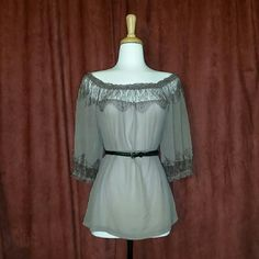 Sheer Blouse with Lace Trim + belt NOT included  + brand new  + no tags  + loose fit  + pairs well with thin waist belt  + pet/smoke free home  + offers welcome via designated button Rachael & Chloe  Tops Blouses
