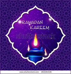 Ramadan Kareem greeting card  Vector template greeting card with intricate oil lamp on shiny abstract backgroundn - Shutterstock