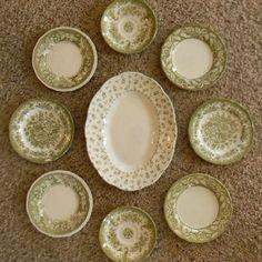 Sage Olive Green Transferware Plates & Platter... http://etsy.me/PNfns3