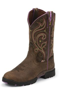 Justin Women's Brown George Strait Waterproof Boots with Purple Accents (GSL9040) 1
