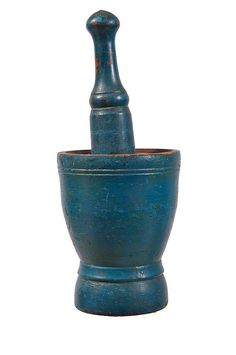 "Rare early 19th c. maple mortar and pestle, in original blue painted finish, from a Hingham, Mass. family home, 8"" h, 6"" dia (mortar), 11"" l (turned pestle)."
