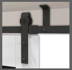 5-8FT Top ceiling mount sliding barn door hardware rustic black ceiling bracket