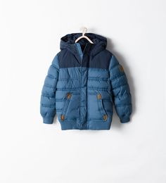 ZARA - KIDS - QUILTED COAT WITH CONTRAST DETAILING