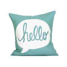 """HELLO Pillow Cover // 16""""x16"""" Silk Screen Teal Pillow Cover"""