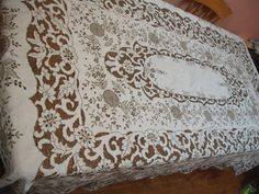 ANTIQUE MADEIRA HAND embroidery banquet by JacquelineMeuross