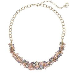Simply Vera Vera Wang Pink Beaded Cluster Necklace ($24) ❤ liked on Polyvore featuring jewelry, necklaces, brt pink, metal bead necklace, pink necklace, cluster bead necklace, metal necklace and nickel free necklaces