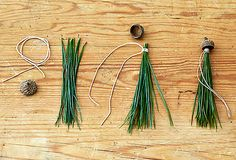 Holiday DIY Acorn Gift Tassels -- Get inspired to make your own Christmas DIY present topper using pine needles, acorn caps twine and a hot glue gun. DIY the Perfect Present Topper Christmas Projects, Holiday Crafts, Christmas Time, Holiday Decor, Diy Presents, Diy Gifts, Deco Noel Nature, Diy Pompon, Pine Needle Crafts