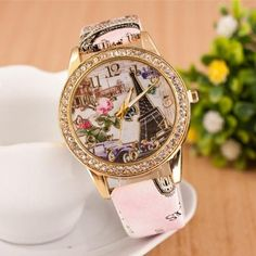 Leather Wrist Watch Individuality Digital 3D Eiffel Tower Design Casual For Women