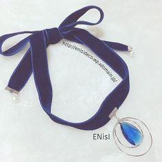 ベルベットリボンとスワロフスキーのチョーカー(オーダー品) #handmade #accessories #choker #blue #velvet #swarovski #pearl #cute #happy #ハンドメイド #アクセサリー #チョーカー #ベルベット #スワロフスキー #コットンパール #シンデレラ #大人女子 #ENisI