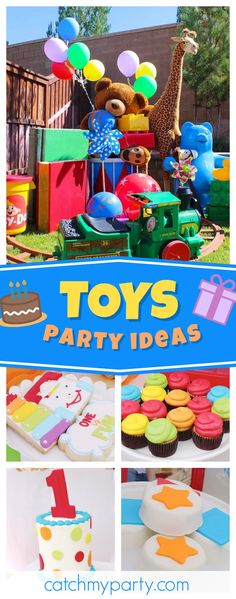 Check out this awesome Toyland 1st birthday party! The toy cookies are so cool!! see more party ideas and share yours at CatchMyParty.com #toys #1stbirthday