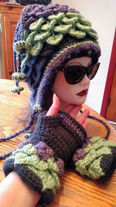 Petula Fleece Lined Hat Elven Collection ( gloves sold separately) — Alily Crochet