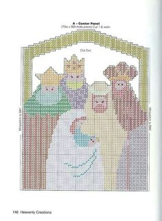 NATIVITY SCREEN by HEAVENLY CREATIONS 3/4 Christmas Nativity Scene, Plastic Canvas Christmas, Plastic Canvas Crafts, Christmas Villages, Cross Stitching, Cross Stitch Embroidery, Cross Stitch Patterns, Plastic Canvas Stitches, Plastic Canvas Patterns