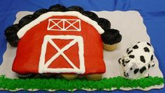 Barn cupcake  open the doors with a number 4 and the loft open with tyler